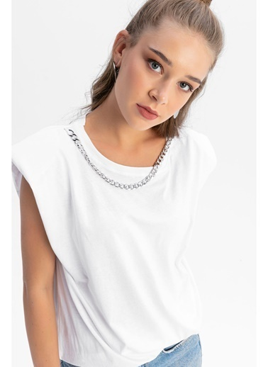 Tiffany&Tomato Yakası Zincirli Vatkalı  Bluz Beyaz